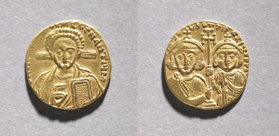 Solidus with Justinian II Rhinometus and His Son Tiberius