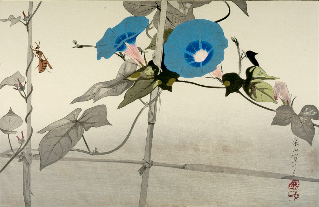 A woodblock print showing a slender wasp crawling up a vertical trellis post. In the center, there's a beautiful morning glory with two fluted flowers that fade from pink at the base to blue at their flaring edges. The background is blank, making it look like the wasp and flower alike are almost floating in abstract space.
