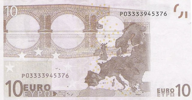 Ten euro note, back