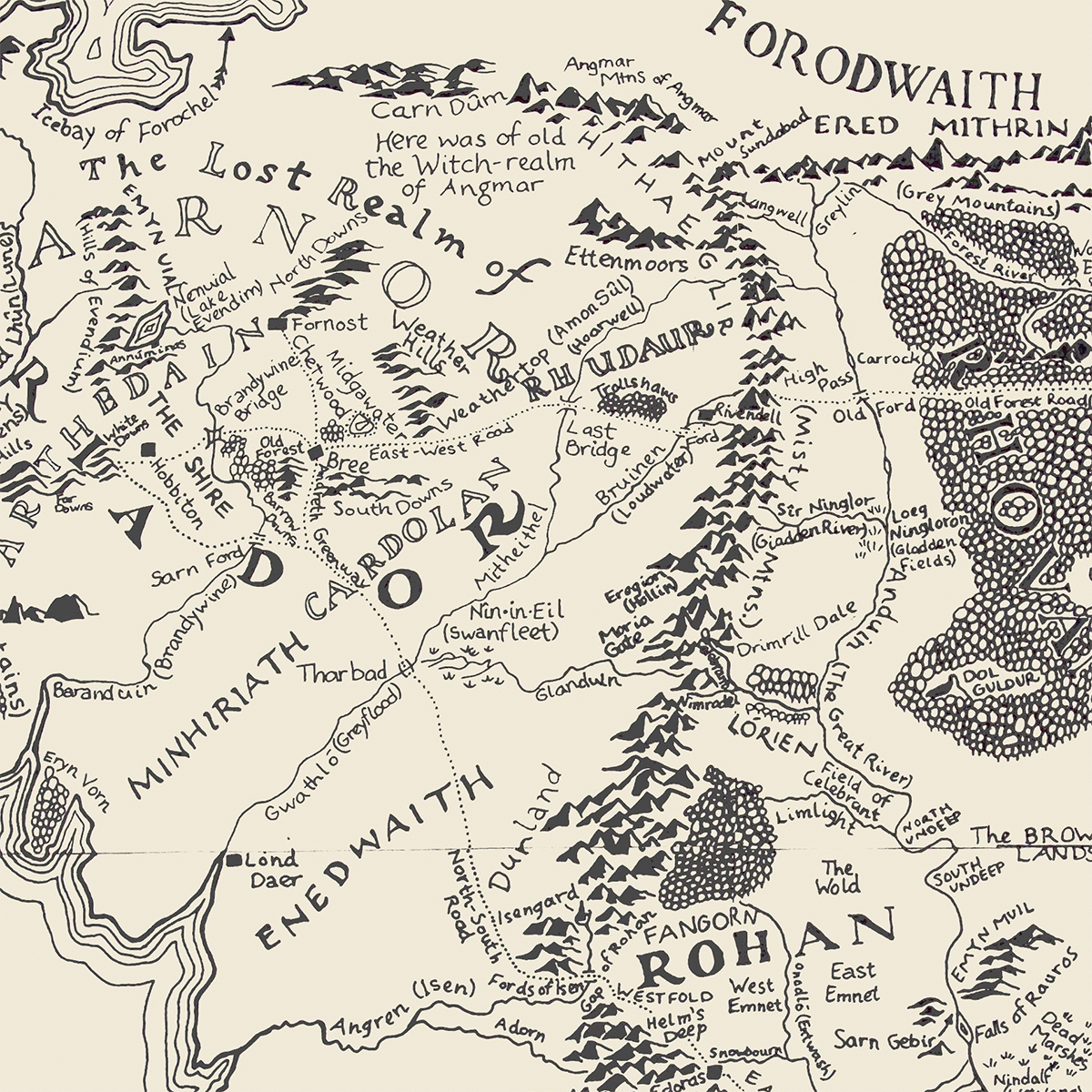 Map of Middle Earth by Pauline Baynes